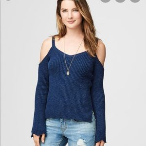 New Aeropostale Bell Sleeve Cold Shoulder Sweater